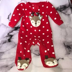 Reindeer Footed Pajamas 3 Months Holiday Winter
